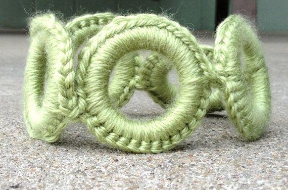 Lime Green Crochet Hoop Bracelet by KendallsKlosets on Etsy, $10.00