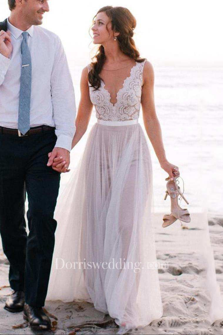 Best dresses to wear to a beach wedding  Sleeveless V Neck Aline Long Tulle Dress With Lace Top  Beach