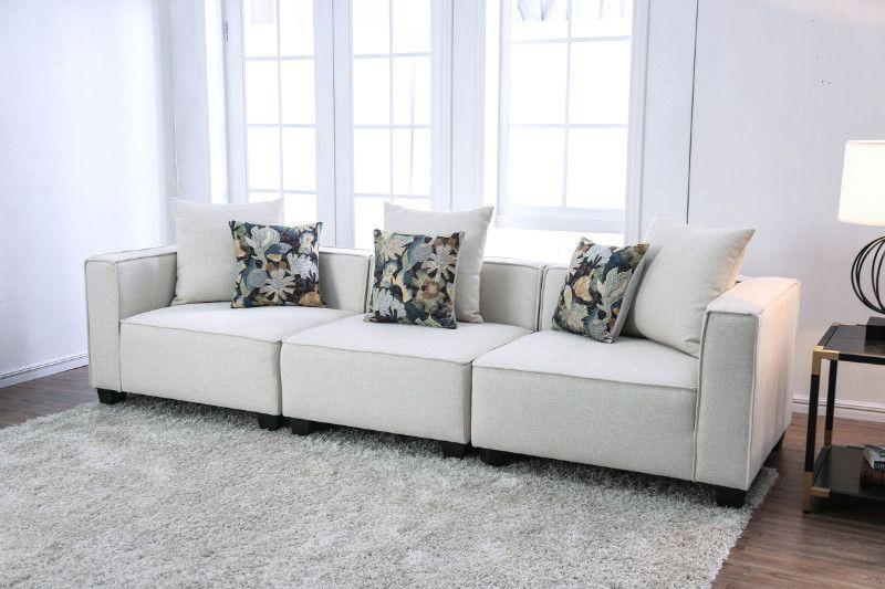 Cm6371 3pc 3 Pc Margot Beige Linen Like Fabric Modular Sectional