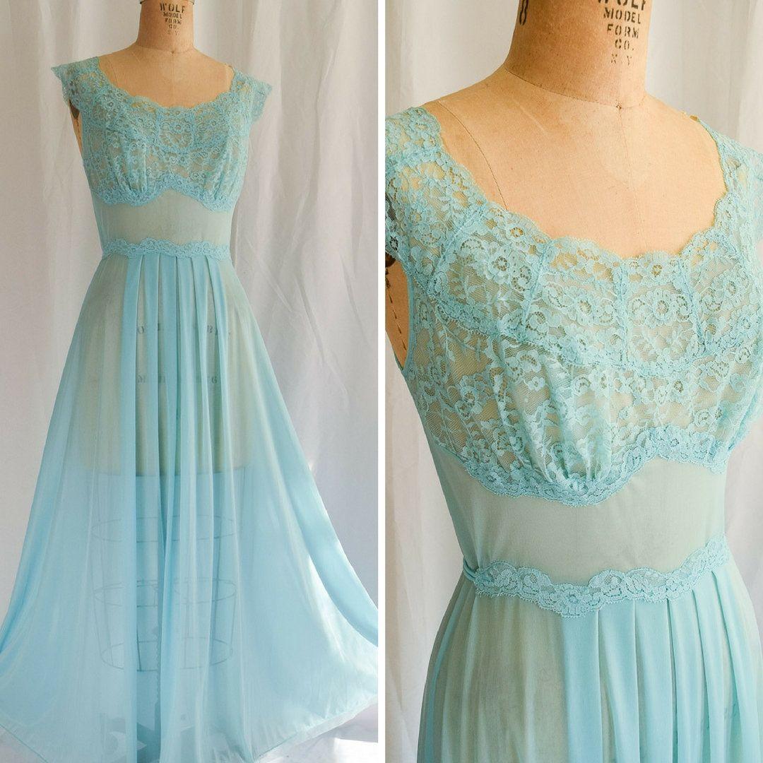 1950s Nightgown | Azure | Vintage 50s Vanity Fair Sleepwear Blue ...