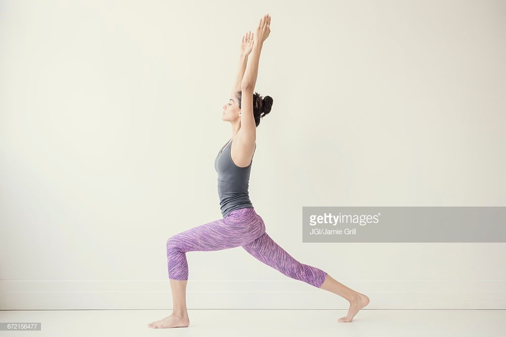 Indian Woman With Arms Raised Yoga Pose Indian Women Yoga Poses Women
