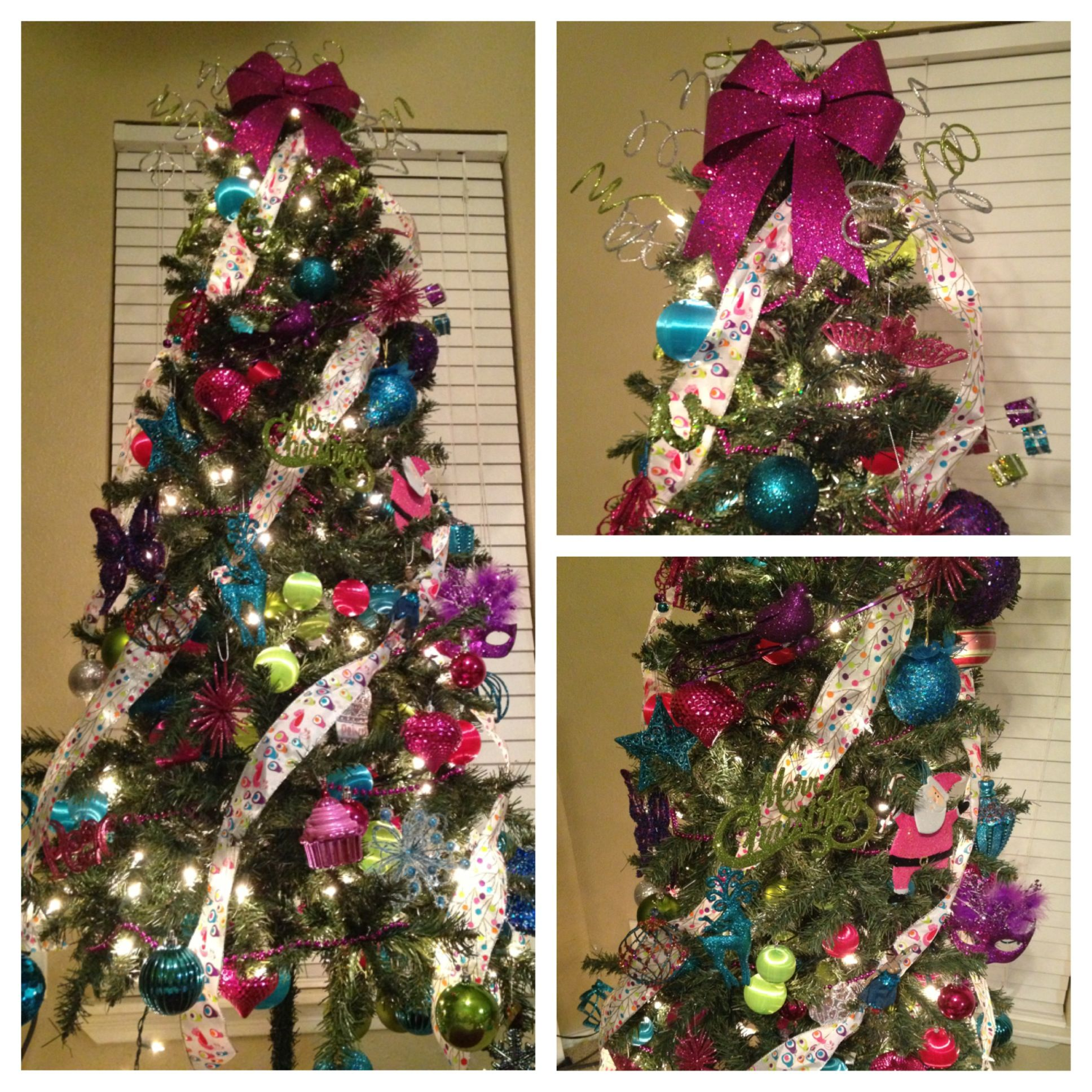 Blue and purple christmas tree decorations - Girly Christmas Tree Full Of Pink Green Blue Purple A Little Girl S