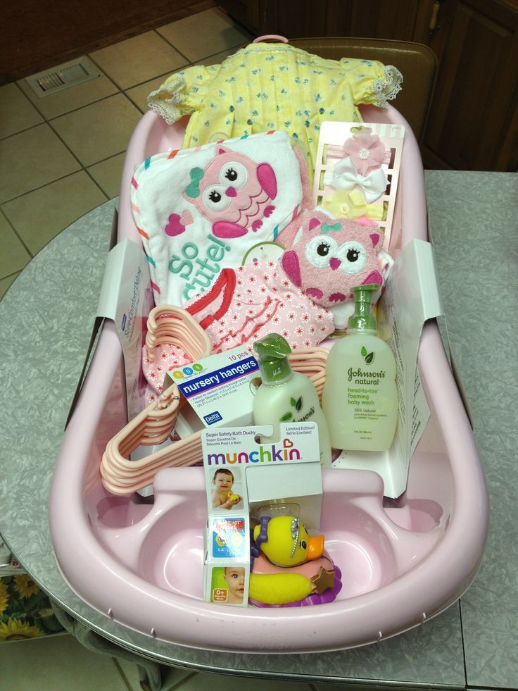 sweet baby shower gift. the base of the tub is filled with diapers, Baby shower invitation