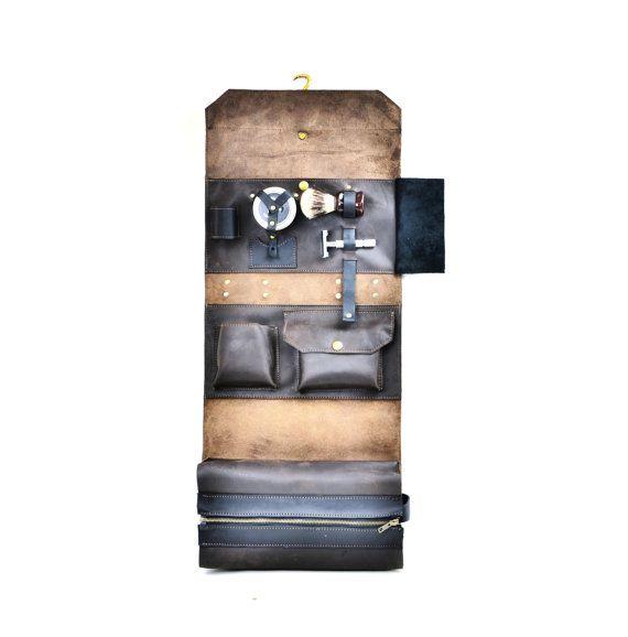 db55701ca22c Leather Shaving Kit - Men s Leather Toiletry Roll - Military Wet Pack  Shaving Bag - Travel Bag for S
