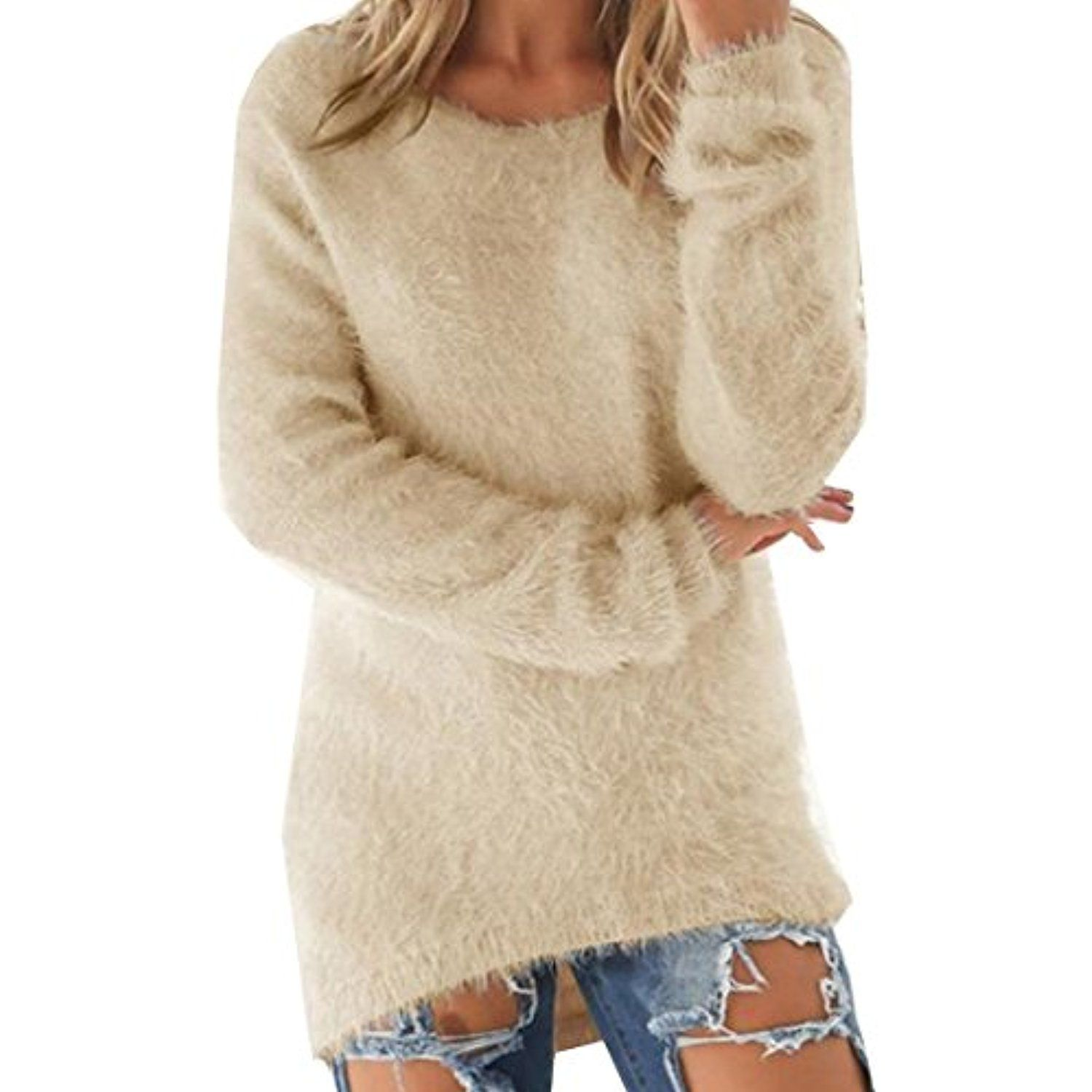 Women's Solid Loose Stylish Comfy Pullover Sweater Outwear ...