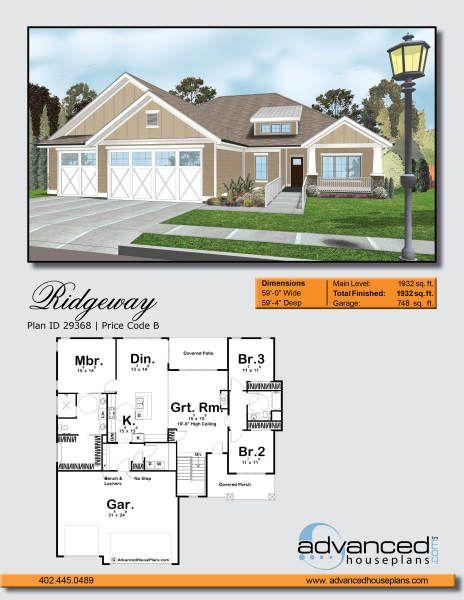 ridgeway 1 story craftsman house plan in 2019 home architecture rh pinterest com