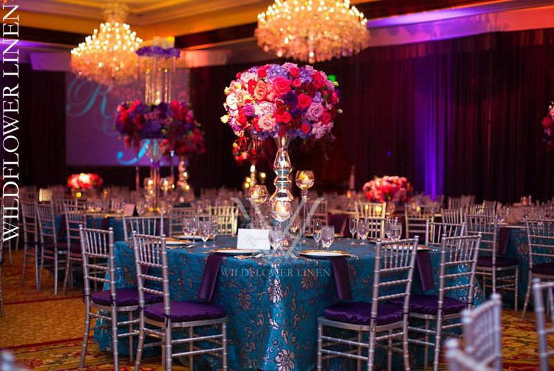 Camilla Teal With Diana Eggplant Chair Covers | Exquisite Events | Braja  Mandala Photography