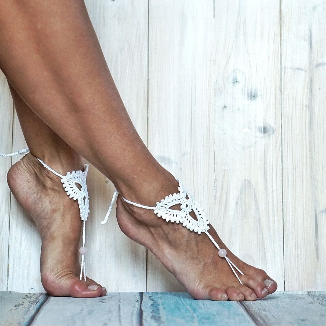 Sandals Foot White Bridal With Barefoot Lace Agate Pink Wedding v0nwNOmy8