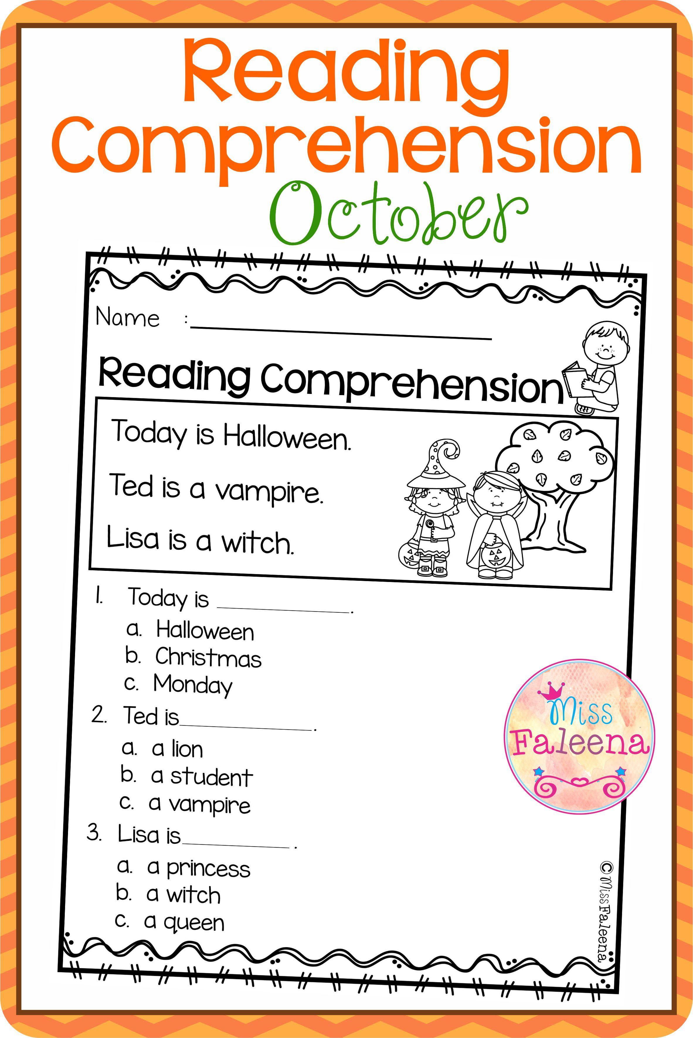 October Reading Comprehension Reading Comprehension October Reading Reading Comprehension Worksheets [ 3544 x 2364 Pixel ]