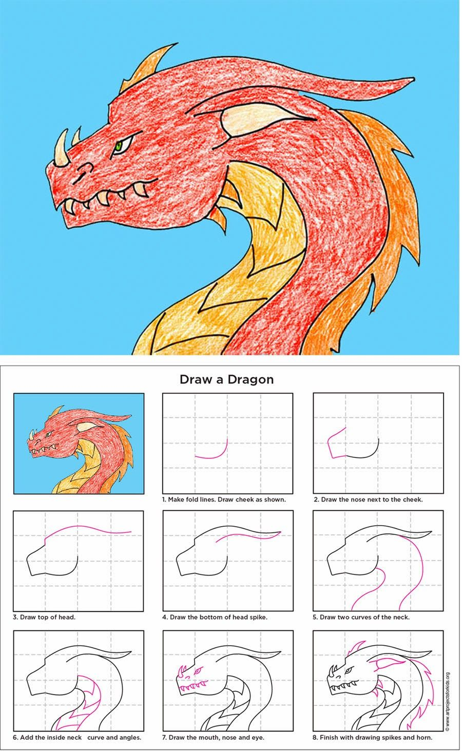 Art Projects For Kids: How To Draw A Dragon Includes A Free Print