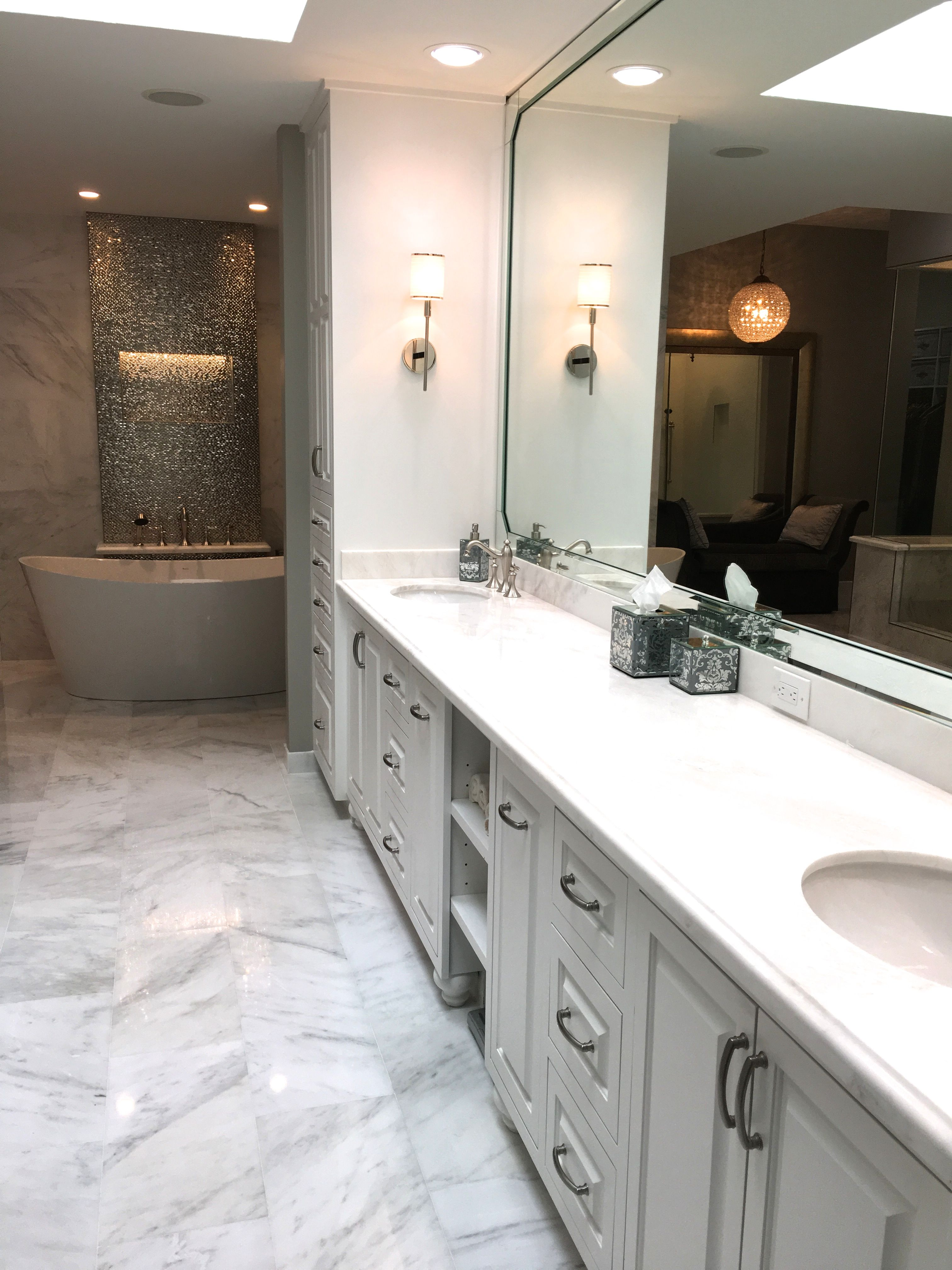 White quartzite counters, First Snow Elegance Marble floors ...