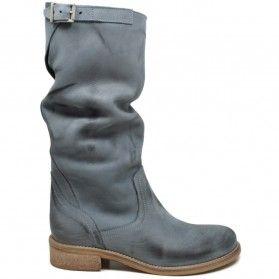 Stivali Traforati Biker Boots Asimmetrici Estivi Donna Pelle Blu Made in Italy