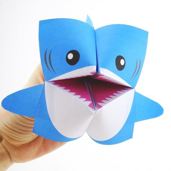 Print the free template and make your own shark cootie catcher - cootie catcher template
