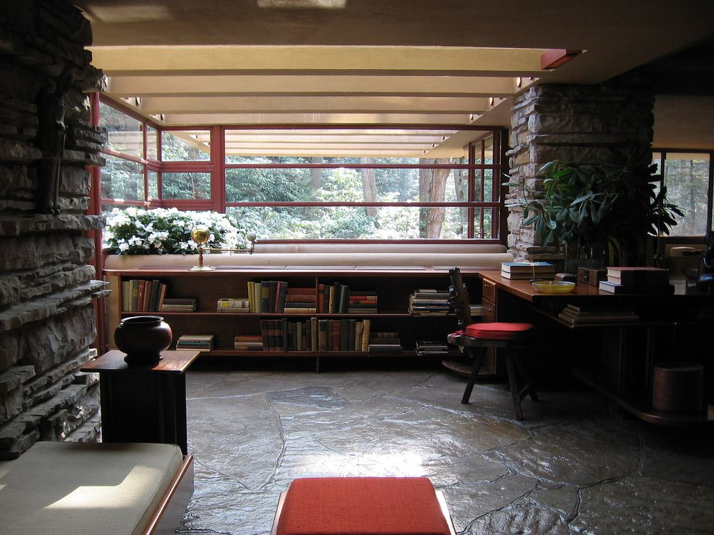 ... With Beautiful Flowers Arrangements Also Exposed Natural Stone Column  Finish In Adorable Living Room Interior Design Inspiring Frank Lloyd Wright  ...