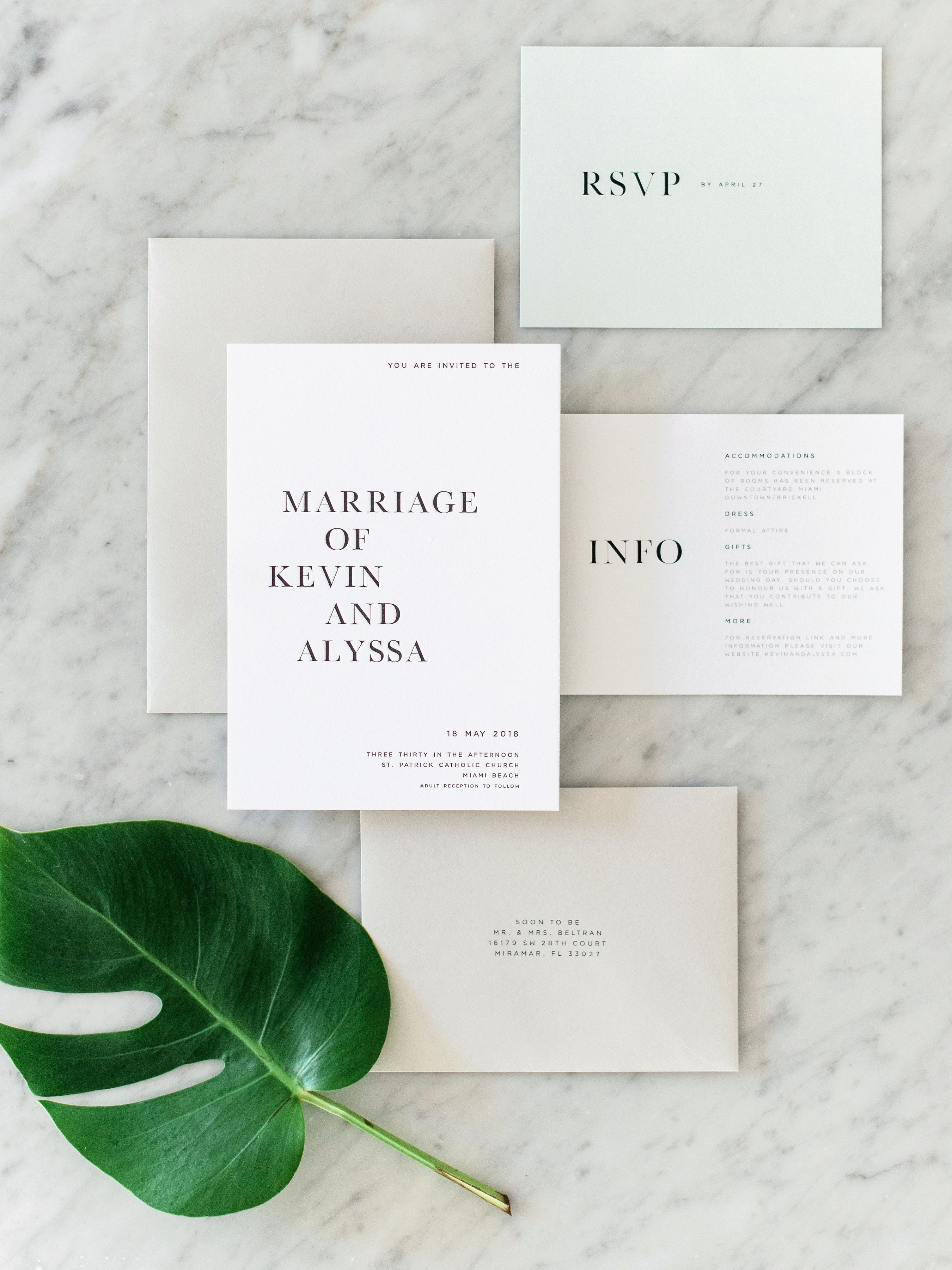 A Modern Gray And Green Miami Wedding At Penthouse Riverside Wharf Minimalist Wedding Invitations Miami Wedding Wedding Invitation Inspiration