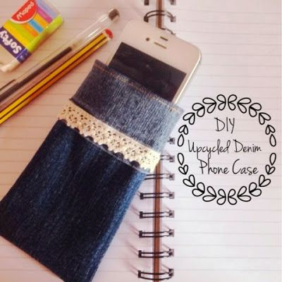 DIY Repurposed Jeans Phone Case Upcycle By Cute Craftylicious