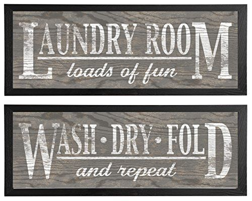 Classic Grey Laundry Signs On Wood Panel Style Background Two