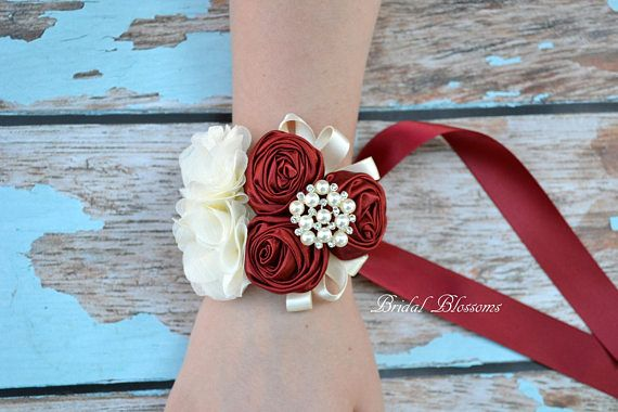 Ivory Chiffon Satin Flower Wrist Corsage Mother of the Bride Vintage Inspired Wedding Easter Bridal Shower Boutonniere Cream