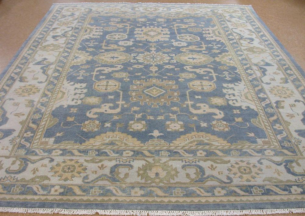 OUSHAK Hand Knotted Tribal BLUE IVORY BROWN Wool New Oriental Rug Carpet 9 x 12 #Unbranded #TurkishOushakGeometric