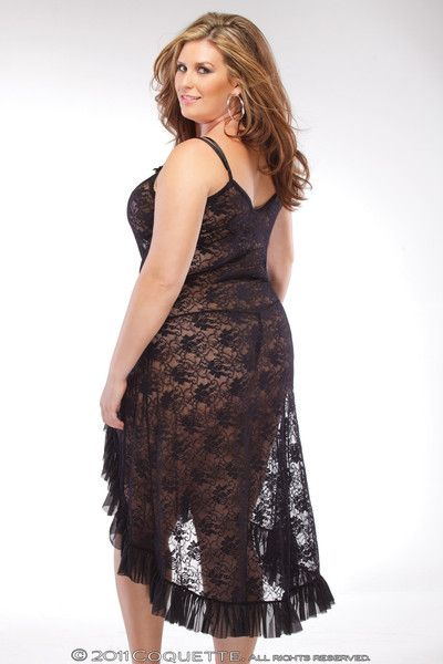 bae5a18c2e1 Black stretch lace gown with high side slit