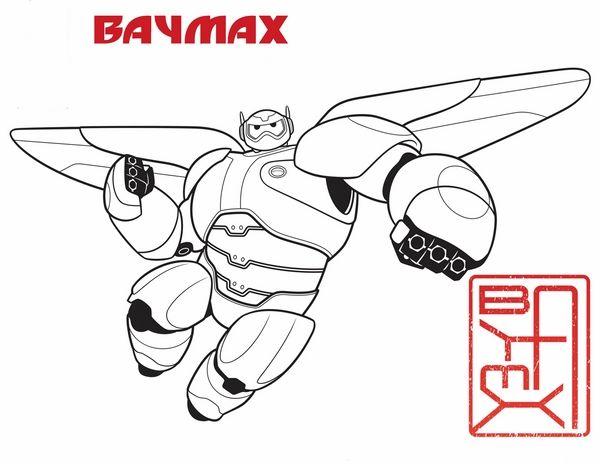 Big Hero 6 Fargelegging for barn. Tegninger for utskrift og fargelegging nº 2