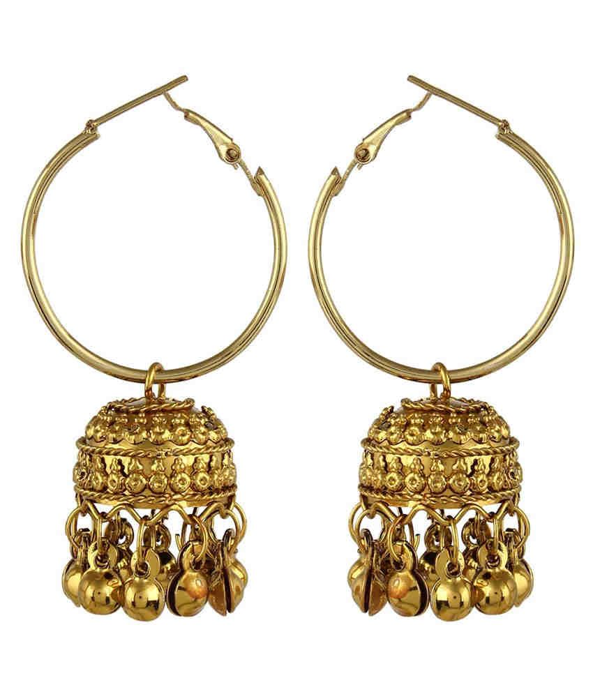 e79c5e418e8 Crazytowear Traditional Golden Hoop With Jhumka Earring available at snapdeal  for Rs.215