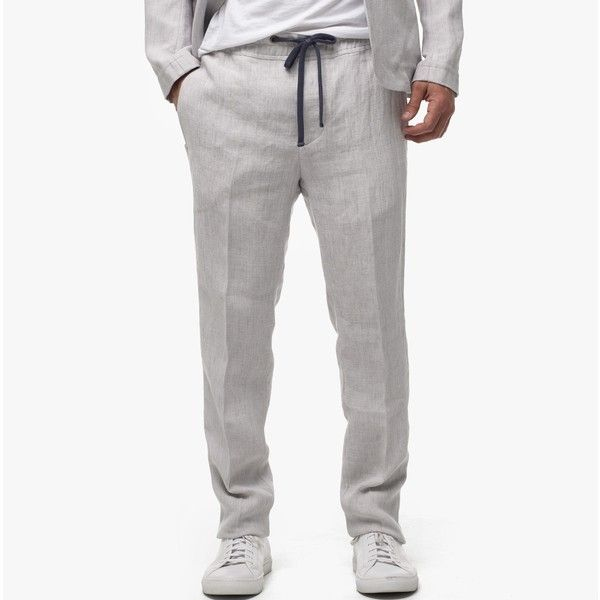 James Perse Delave Linen Pant (35640 RSD) ❤ liked on Polyvore featuring men's fashion, men's clothing, men's pants and silver grey