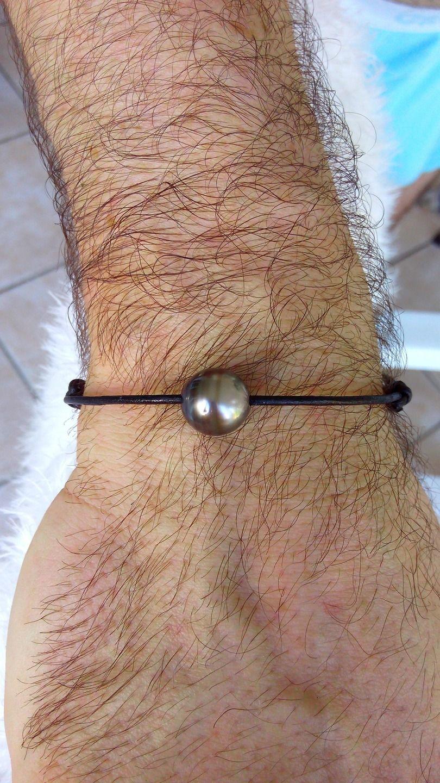 Bracelet cuir perle tahiti homme