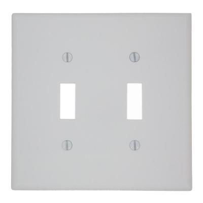 Leviton 2 Gang Toggle Switch Wall Plate White Plates On Wall