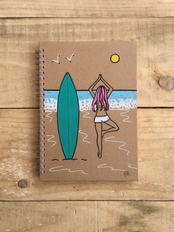 Original hand painted illustrated yoga surf by Spellboundbythesea - yoga resume