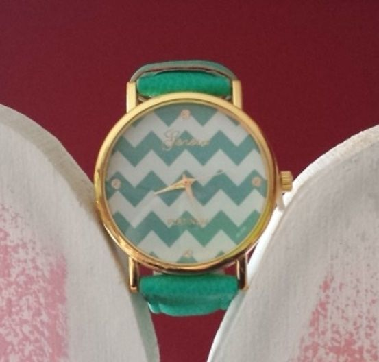 NEW Chevron Teal Women's Watch for Spring/Summer Adjustable Strap Geneva NIB #Geneva #Fashion