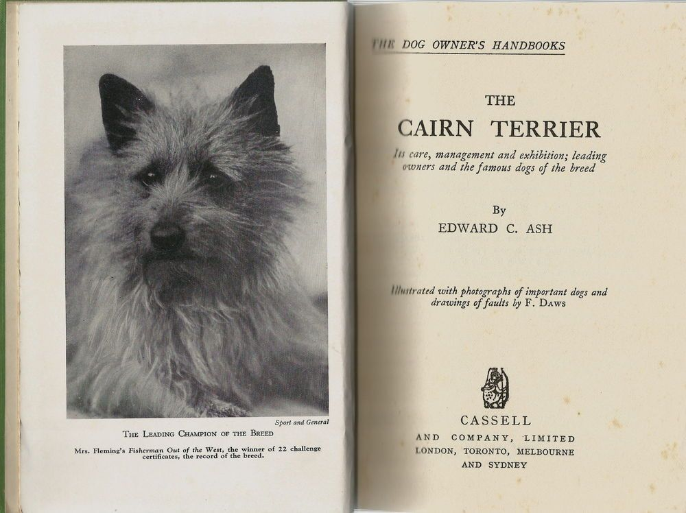 Cairn Terrier Dog Book By Edward Ash 1936 1st Edition Canas