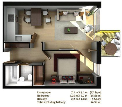 One bed flat floor plan  One bed flat floor plan 3D rooms Pinterest Flats  New. One Bedroom Flat