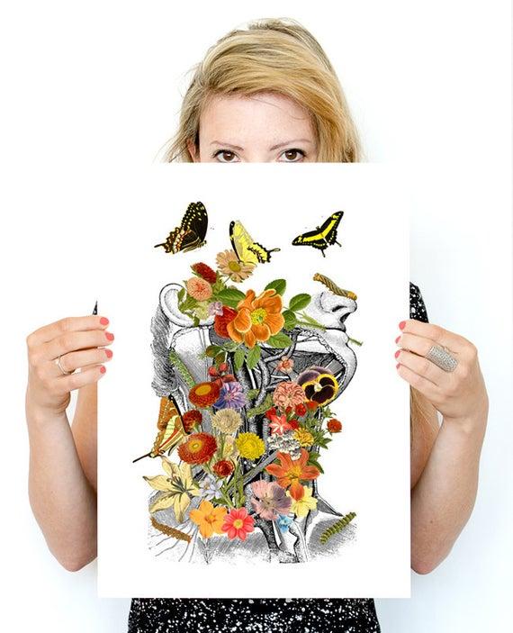 Photo of Springtime on me, white art Print-Wall art Human anatomy pri…