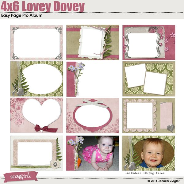 Lovey Dovey Collection Mini Digital Scrapbooking Kit by Jennifer Ziegler | ScrapGirls.com
