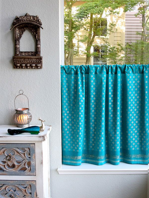 Bon Turquoise Blue Kitchen Curtains, Blue And Gold Tier Curtain Panels, India  Sari Curtain Panels