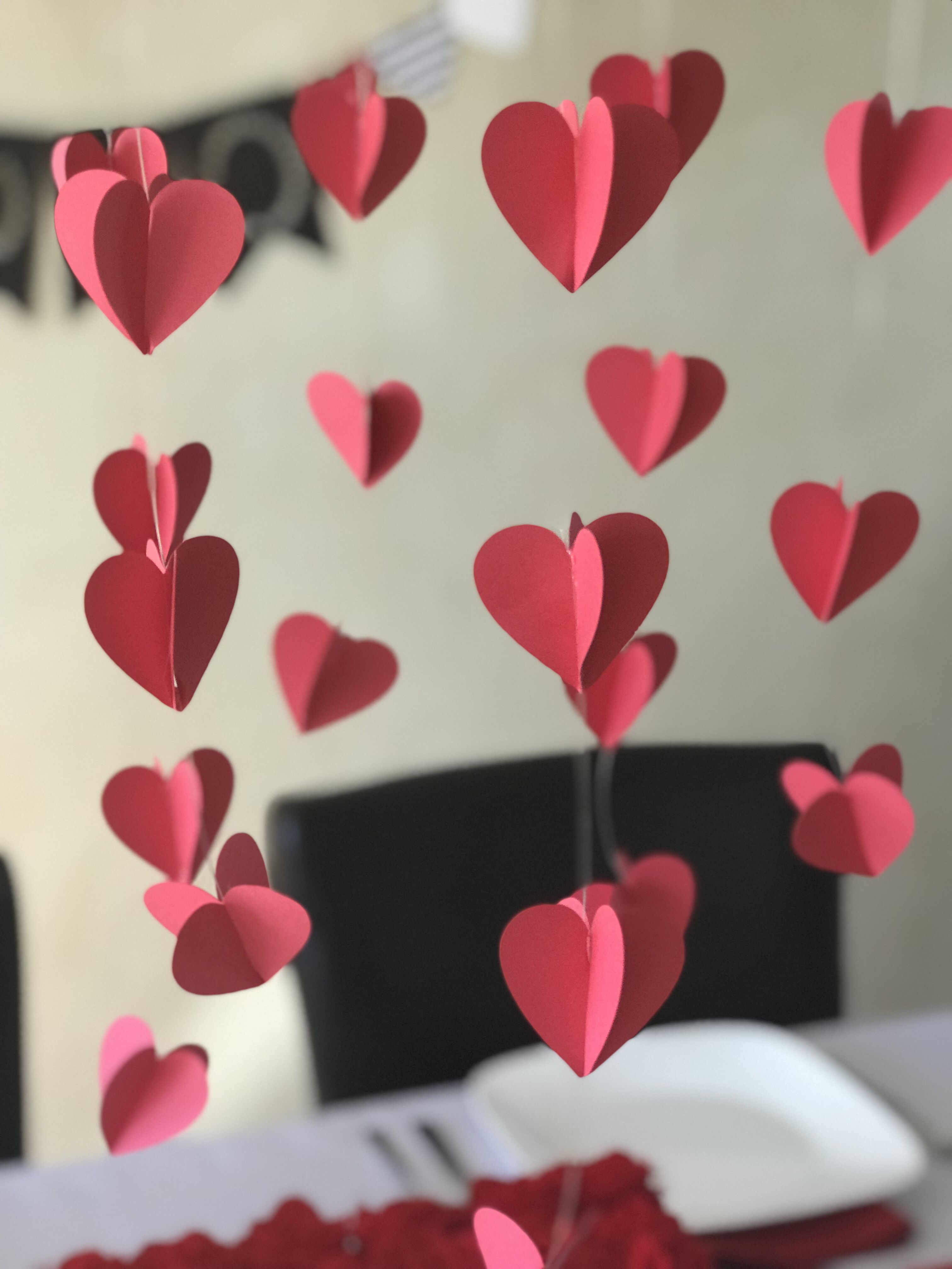 Hanging Hearts Above Your Dining Room Table Make A Big Impact Hangingheart Valentinesdecor Valentines Day Decorations Hanging Hearts Valentines Day Hearts