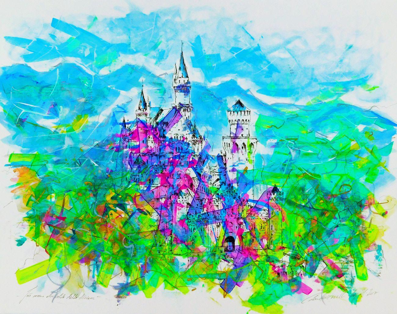 """neuschwanstein castle"""" - ink, watercolor, acrylics, metallic"""