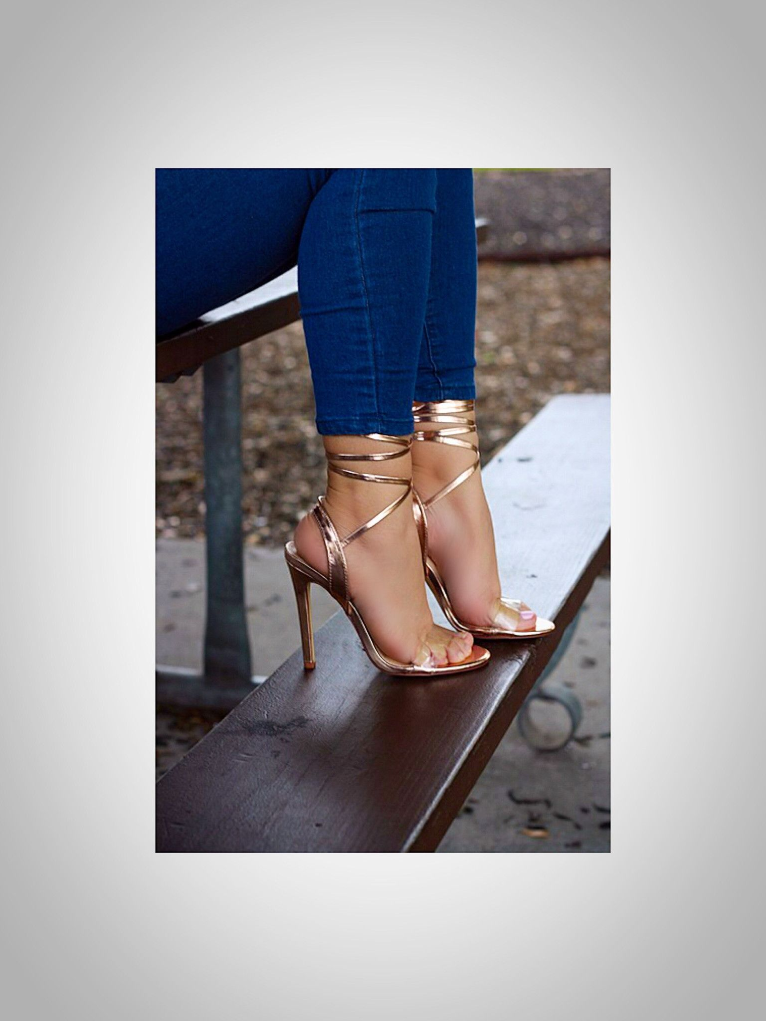 5c53da849d75 Be exclusive in these transparent lace up heels. - 4.5
