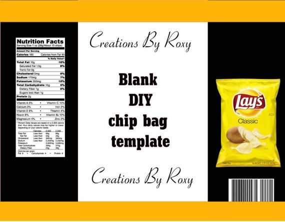 Diy Chip Bag Template Products In 2019 Bags