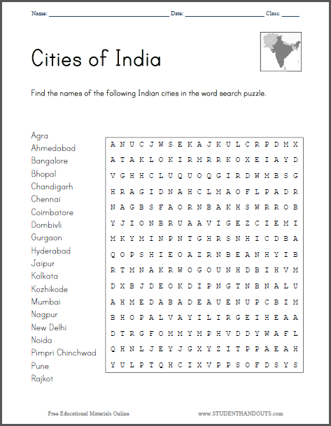 Cities of India Word Search Puzzle - Free to print (PDF file