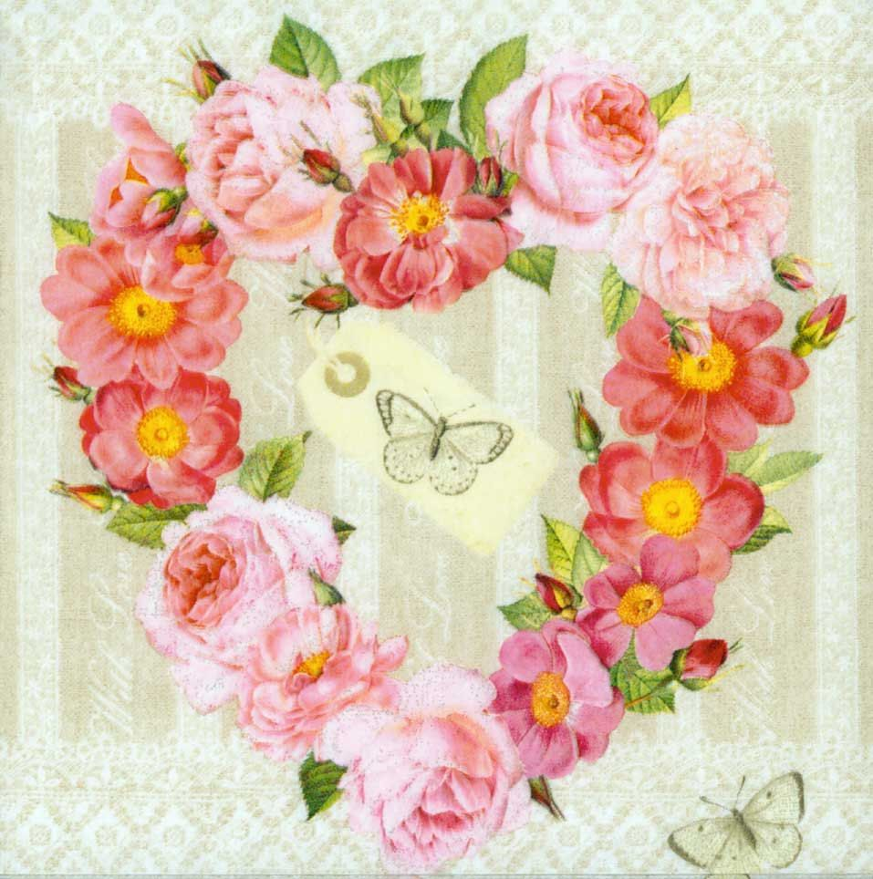 4 Floral Decoupage-Pink Roses Decoupage-Rose Paper Napkins-Floral Napkins-Spring Napkins-Floral decoupage-Dinner napkins Set of 4