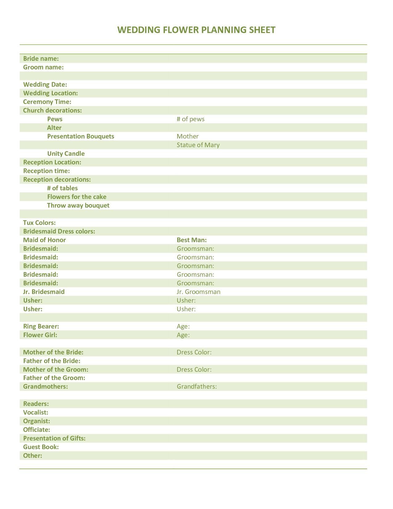 Wedding Planning Information Sheet Accessoires Pour