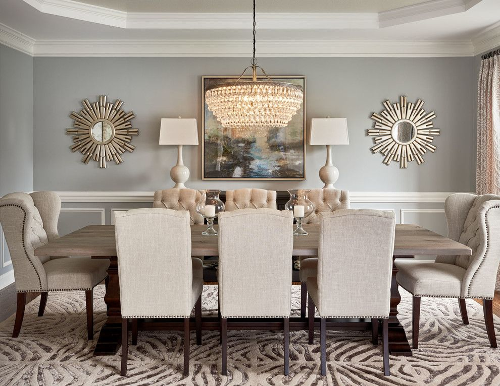 59020 round mirror in dining room dining room transitional for Decorating a large dining room wall