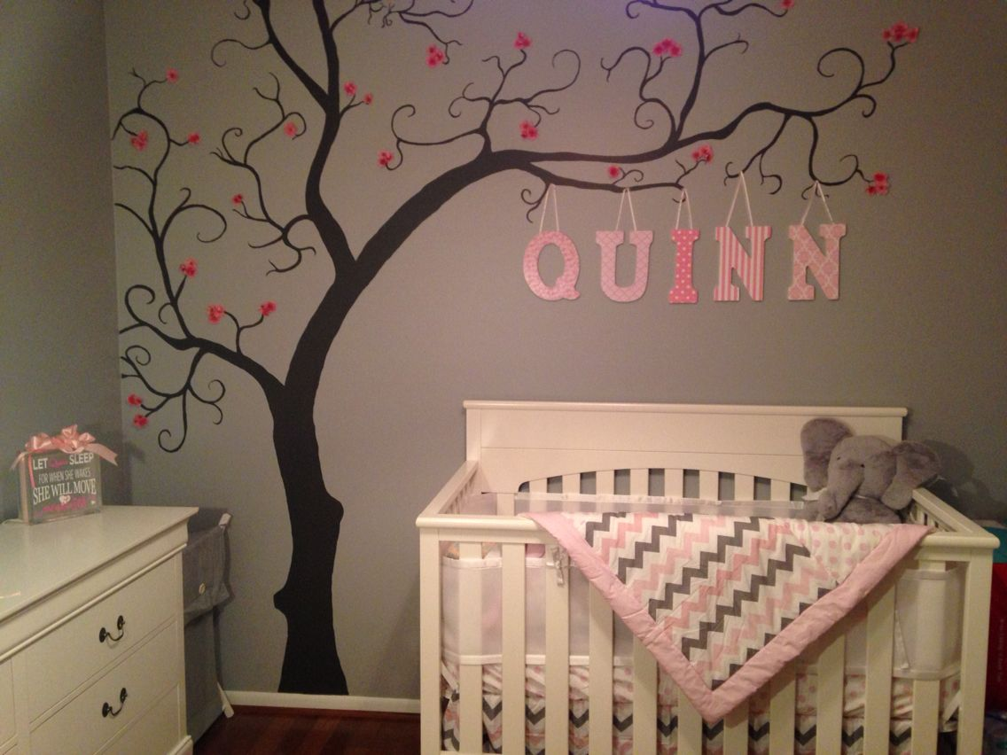 Baby girl nursery grey pink and white tree art wall for Baby nursery tree mural