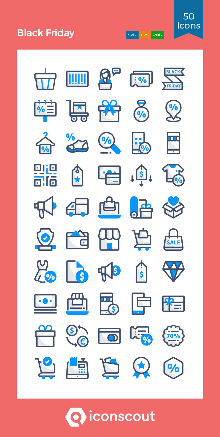Black Friday Icon Pack 50 Colored Outline Icons Icon pack