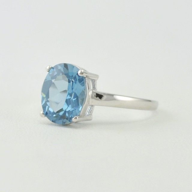 [6092] sterling silver created aquamarine 8x10mm oval ring size 7