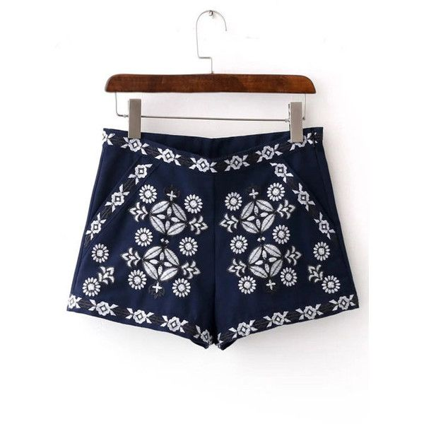 Yoins Vintage Style Embroidery Pattern Side Zipper Shorts (£17) ❤ liked on Polyvore featuring shorts, yoins, blue, embroidered shorts, short shorts, print shorts, blue short shorts and side zip shorts