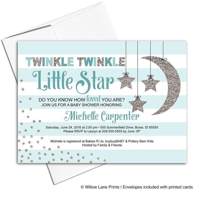 Twinkle Twinkle Little Star Baby Shower Invitations - Neutral Baby ...