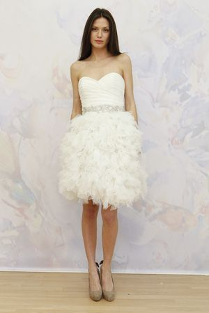 Antonio Gual for TULLE short feather wedding dress. (Photo: Dan Lecca)